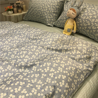 Blue flower small floral cotton denim cotton 1.5m1.8 meters American pastoral style lady linen sheets