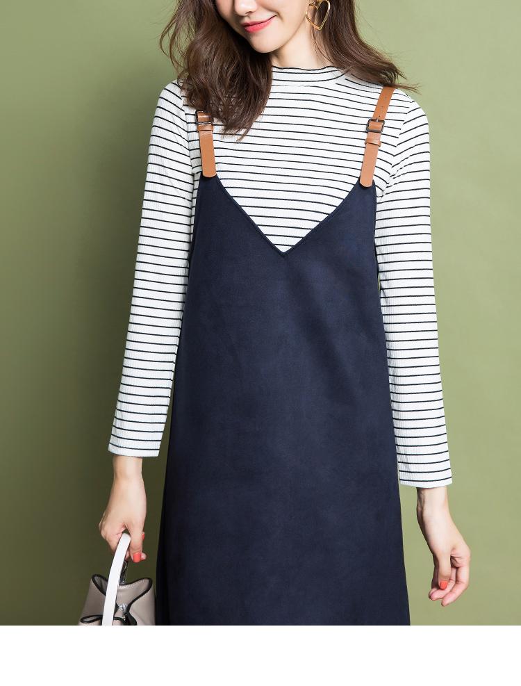 拉夏贝尔冬季新款长袖连衣裙日版时尚修身显瘦吊带裙子