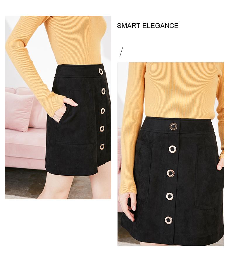拉夏贝尔a字裙短裙女新款高腰半身裙包臀一步裙