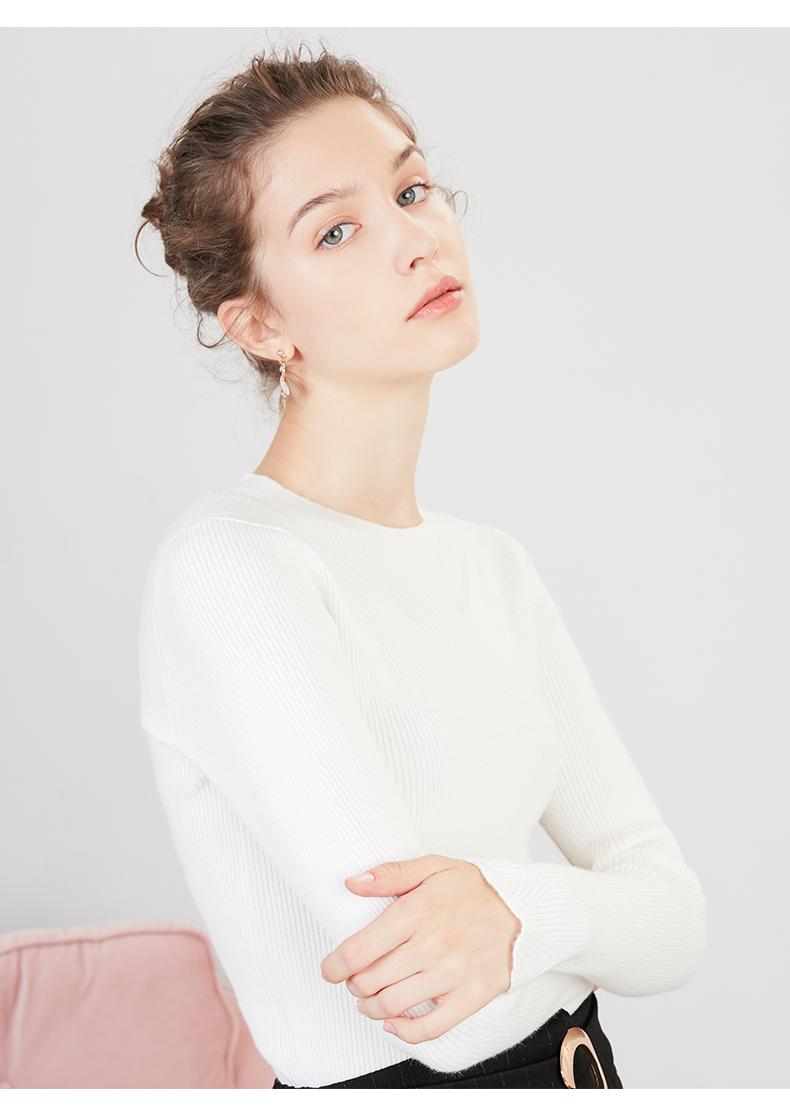 Y针织衫女拉夏贝尔2018秋季新款春韩版修身长袖毛衫打底套头毛衣
