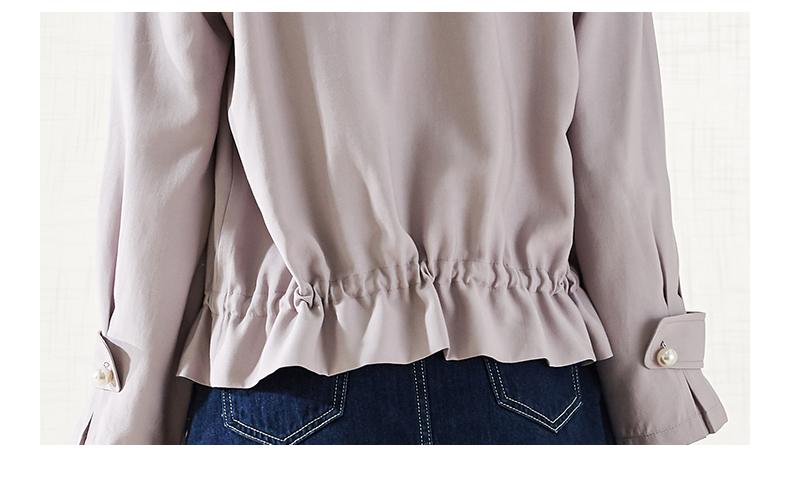 拉夏贝尔2019春季新款紫色夹克上衣潮短款外套