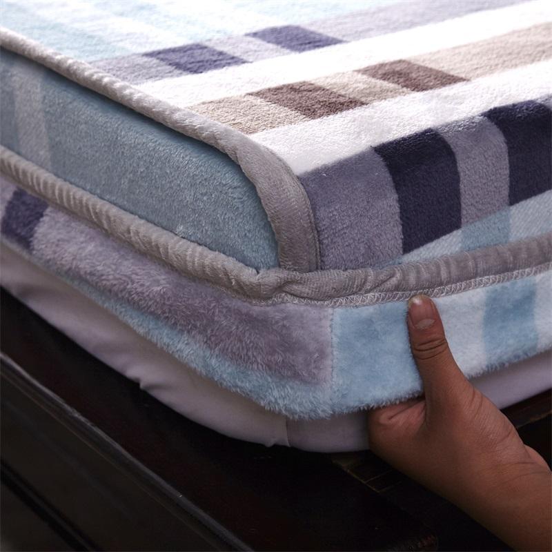 加厚单件绒床笠双面套子珊瑚床罩法兰绒冬季a单件席梦思床垫保护套