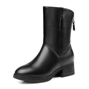 真皮羊毛短靴2017冬季平跟厚底大码雪地靴保暖妈妈棉鞋全牛皮女靴
