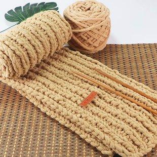 粗毛线小熊自织围巾冰条毛线团