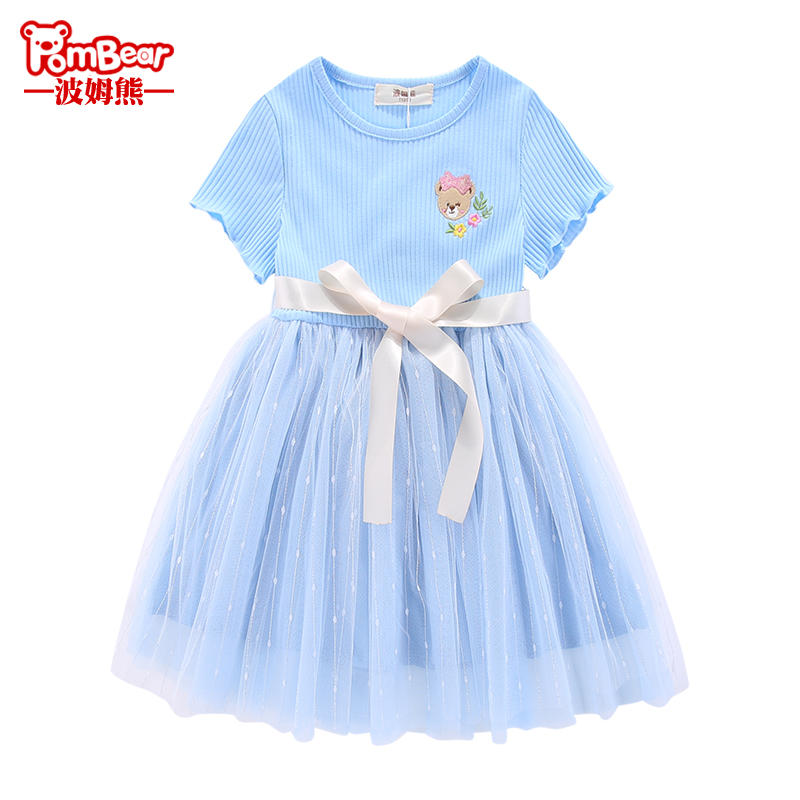Bom bear Girls Summer 2019 new short-sleeved baby dress children's yarn skirt lace princess dress