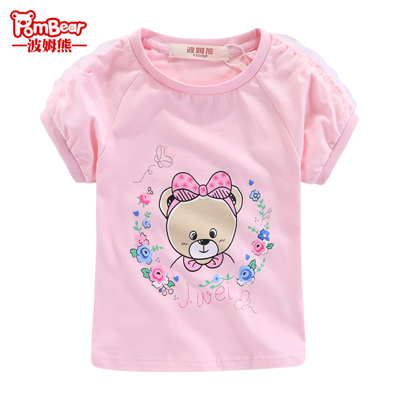 Bohum bear 2019 summer new children's baby short sleeve big child lace round neck girl foreign T-shirt