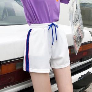 ins白色超火的裤子运动短裤女原宿风热裤学生韩版外穿宽松阔腿裤