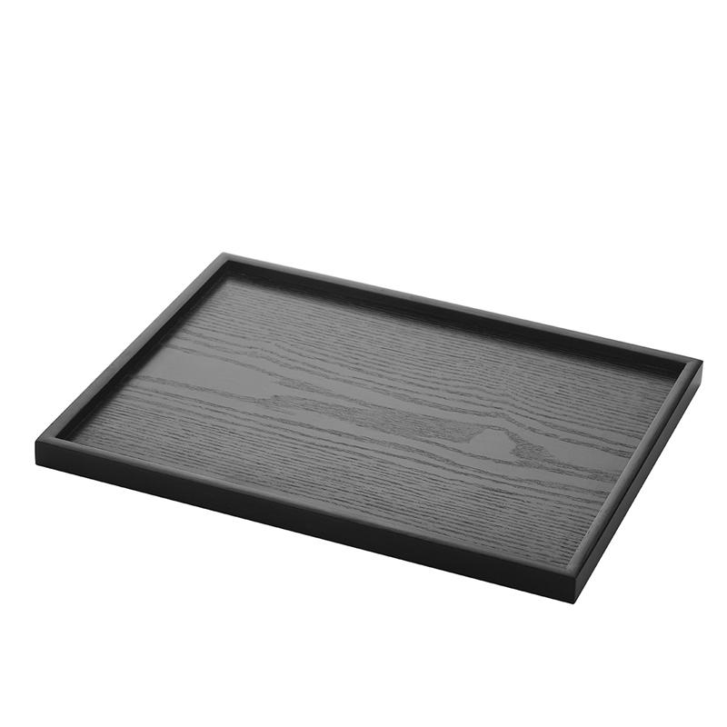 净千日式黑色长方形茶盘木质水杯托盘创意简约茶具盘杯盘水果盘子