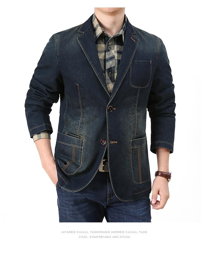 Denim jacket men casual business single suit top spring and autumn Korean version trend retro suit jacket 54 Online shopping Bangladesh