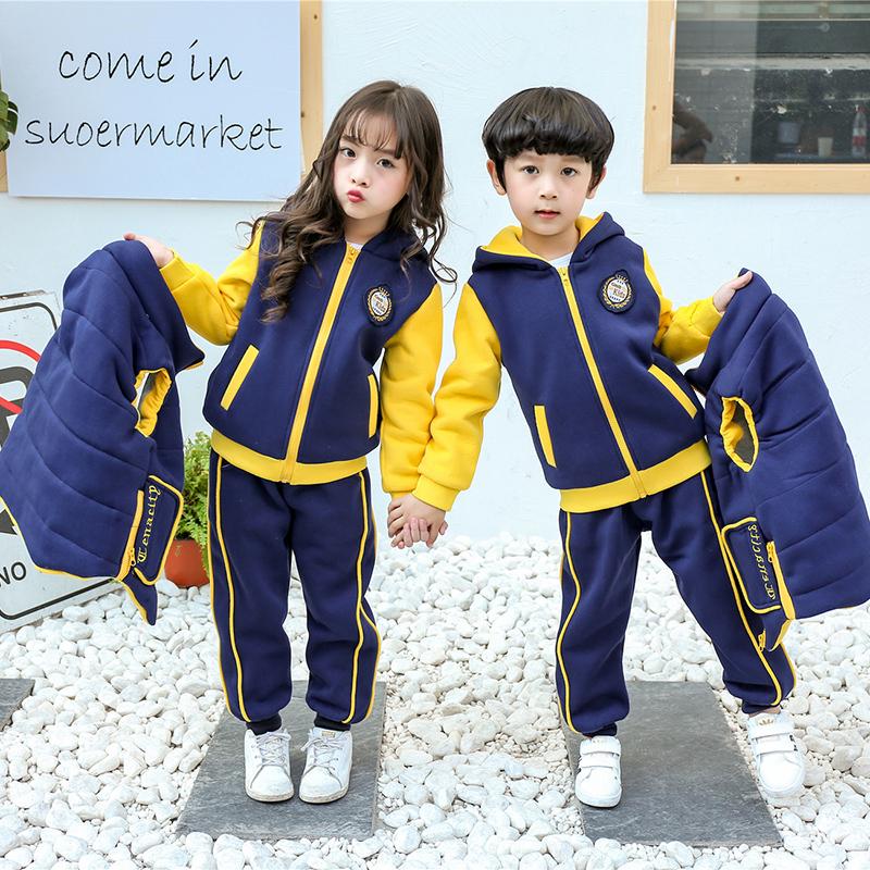 幼儿园园服秋冬装小学生校服冬季加厚2018班服套装儿童运动三件套