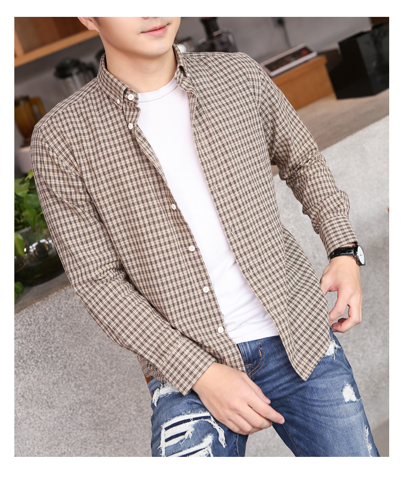 Pure cotton small plaid shirt men's long-sleeved Korean version of the tide brand casual inch clothes spring men's slim handsome shirt jacket 63 Online shopping Bangladesh