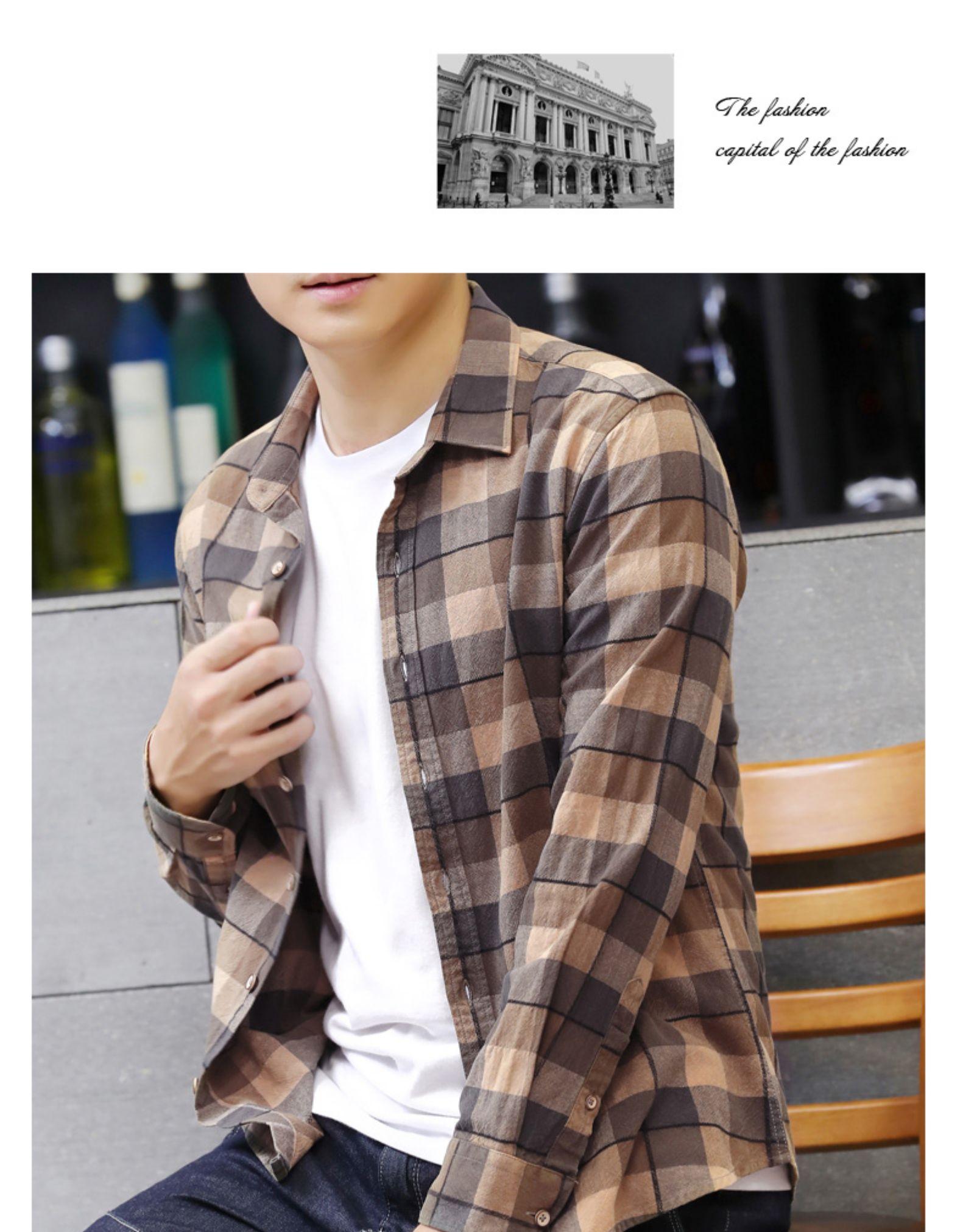 Autumn pure cotton lad shirt men's Korean version of the trend autumn fashion slim long-sleeved shirt men's handsome jacket 61 Online shopping Bangladesh
