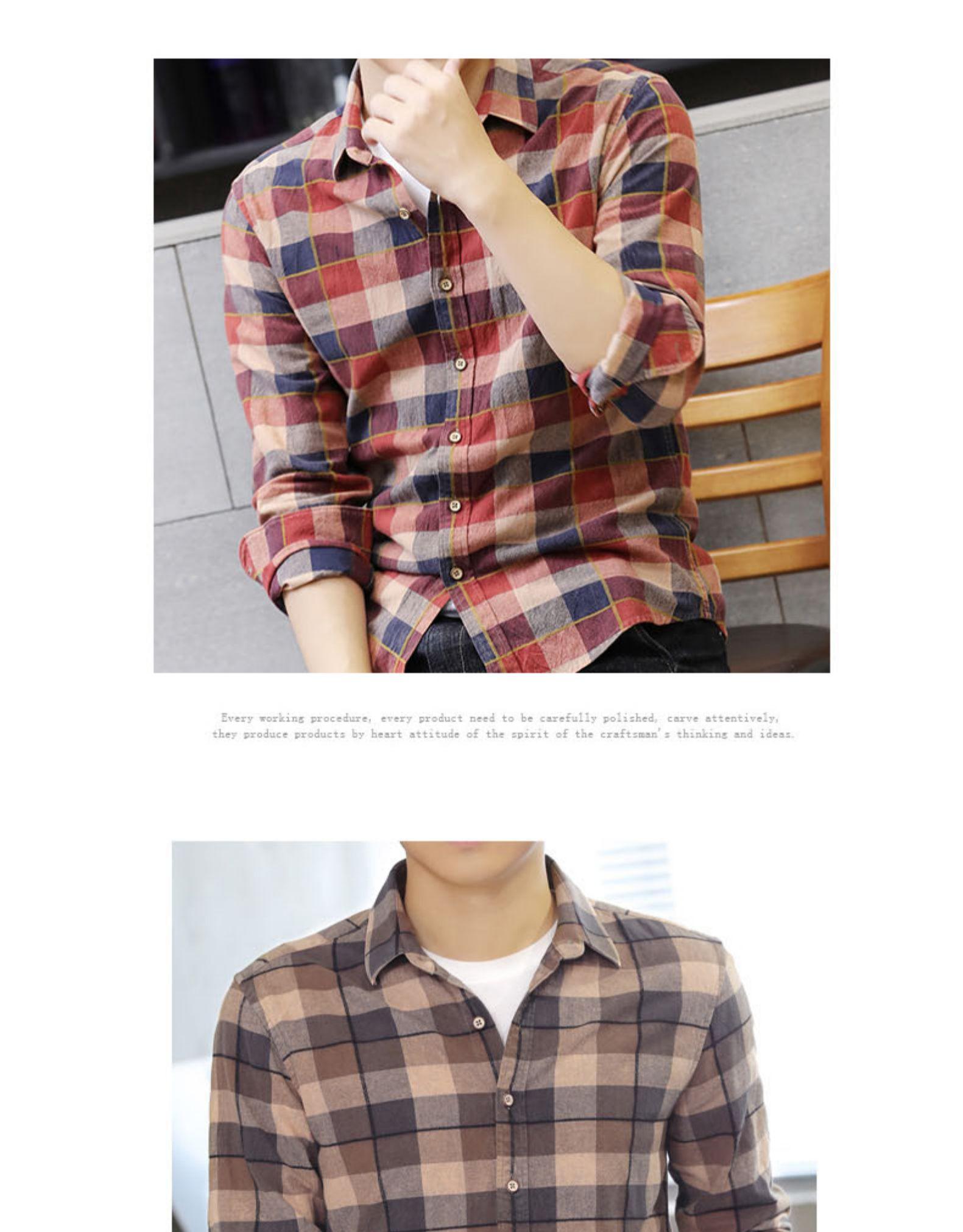 Autumn pure cotton lad shirt men's Korean version of the trend autumn fashion slim long-sleeved shirt men's handsome jacket 57 Online shopping Bangladesh