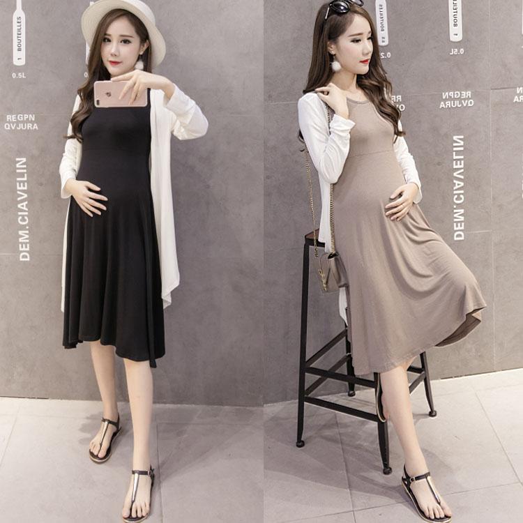 Весна новый корейский транспорт беременная женщина загружены даже загружен платье беременная женщина установите волна мама юбка два рукава платье