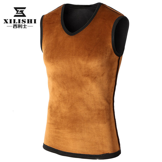 Winter men's warm vest plus velvet thick slim bottoming vest men's tightness vest crew shoulder tide