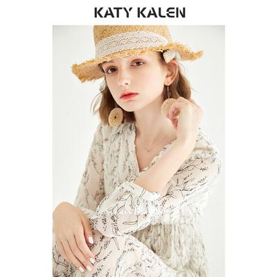 kk2020 váy mới mùa xuân cho phụ nữ in cổ chữ V xếp li trên đầu gối váy voan mùa hè - Váy eo cao