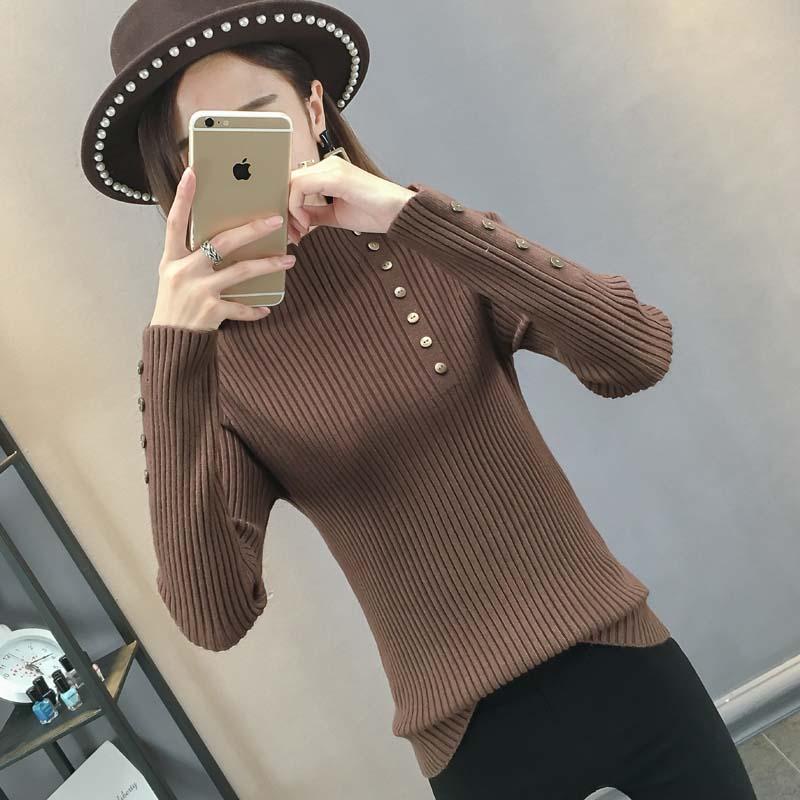 半高领毛衣女套头韩版修身长袖打底衫2018秋冬新款加厚紧身针织衫