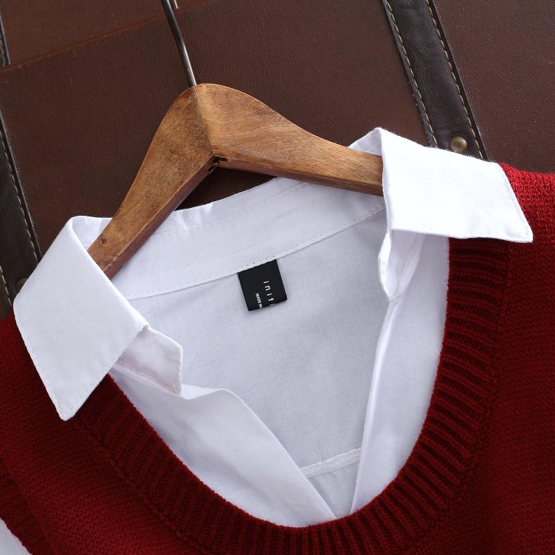Đầu mùa thu của phụ nữ mới cao đẳng gió áo len vest hai mảnh dệt kim áo len phù hợp với v-cổ áo sơ mi nữ triều