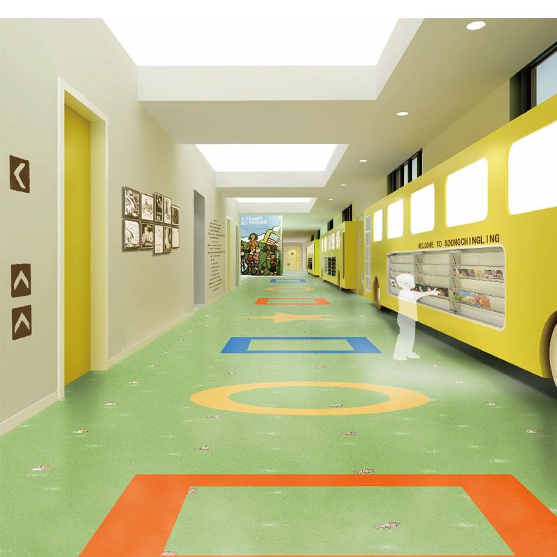 pvc塑胶地板卡通纯色地胶帝彩浩乐2mm幼儿园环保耐磨防滑地胶