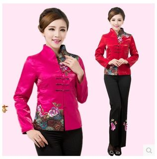 New Tang suit ladies autumn/winter jacket + pants long-sleeved jacket Chinese women's ethnic style suit mother