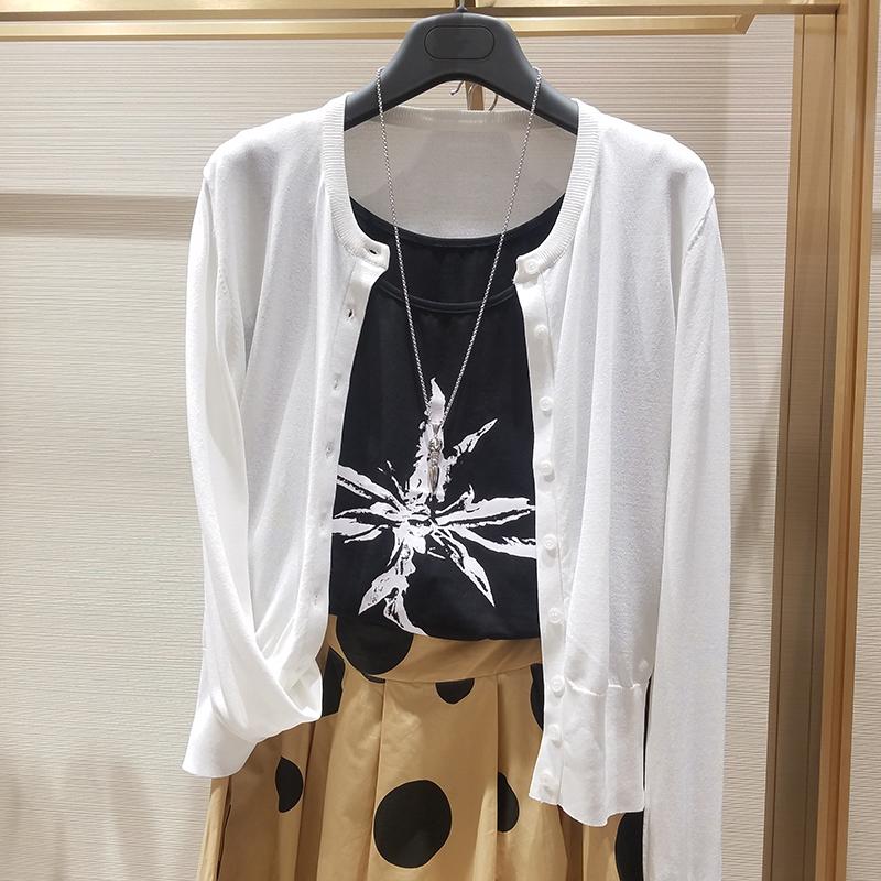 希哥弟思短款2020开衫新款女装外搭薄外套空调针织春装女长袖衫