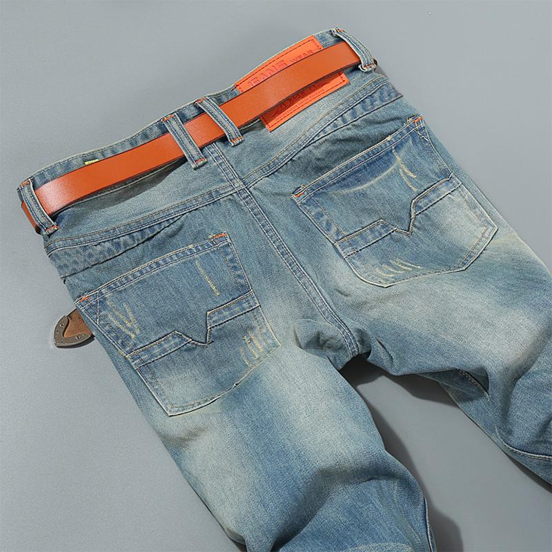 秋季新款弹力欧美风男士牛仔裤复古简约时尚印花修身青年长裤子