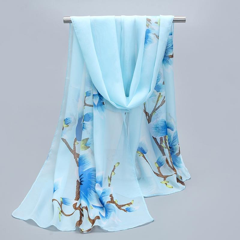 新款两用丝巾春季韩版雪纺女士纱巾披肩夏季防晒长款围巾装饰丝巾