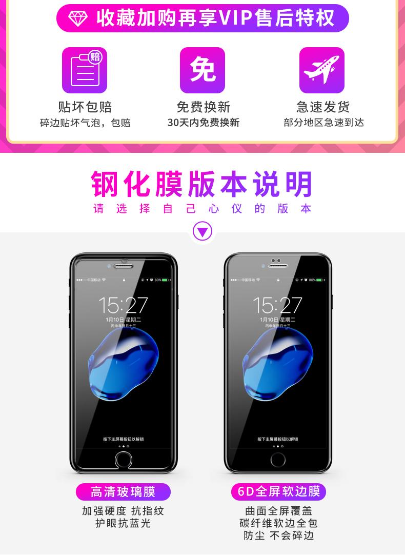 赛士凯苹果钢化膜高清玻璃保护膜全屏覆盖防蓝光手机保护膜防指纹全包边防爆膜六详细照片