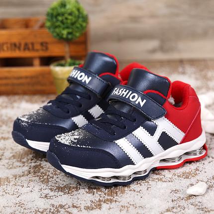【7根弹簧】男童冬季运动鞋中帮加毛棉鞋男孩跑步鞋儿童鞋弹簧鞋