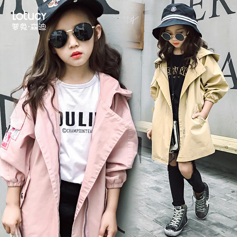 女孩子韩版小孩小学生2019儿童风衣女童洋气春秋新款中大童潮外套