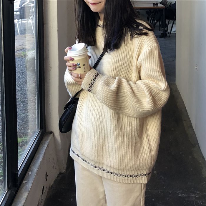 2018秋冬季韩国慵懒风宽松显瘦圆领套头加厚长袖针织衫毛衣女上衣