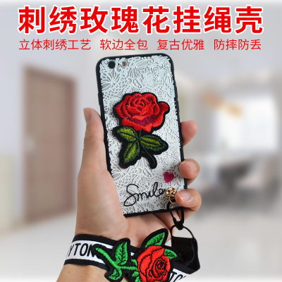 Apple 6s phone shell embroidery rose iPhone7 plus all-inclusive drop 8p/X lanyard protection package