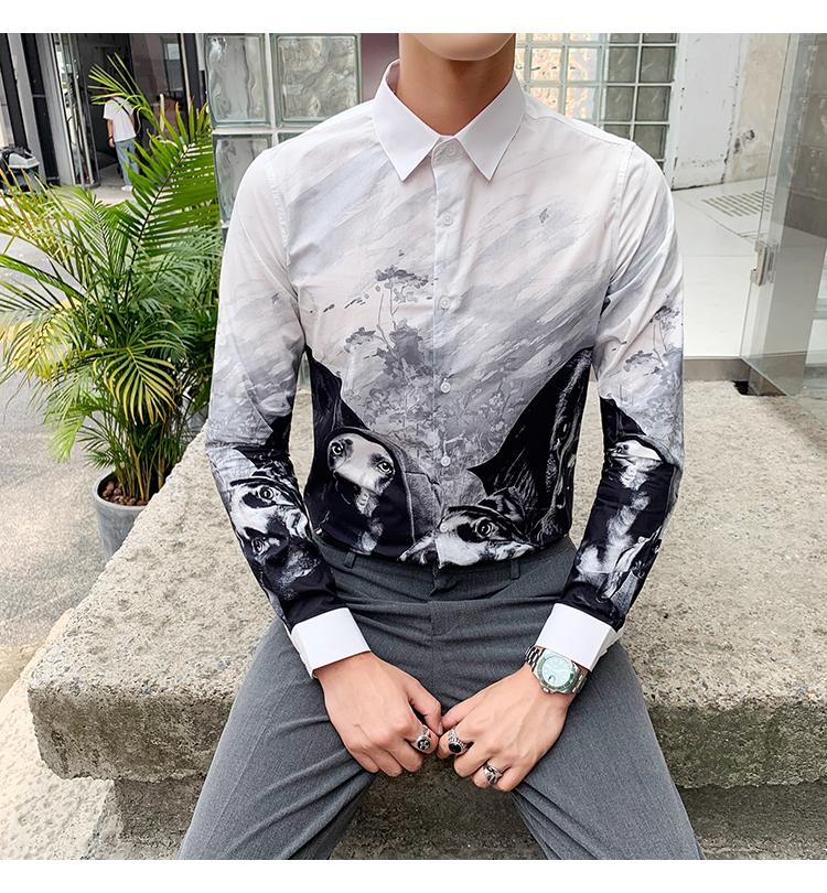 Horizon men's four seasons cotton straight spray animal print slim personality shirt long-sleeved casual shirt youth 41 Online shopping Bangladesh