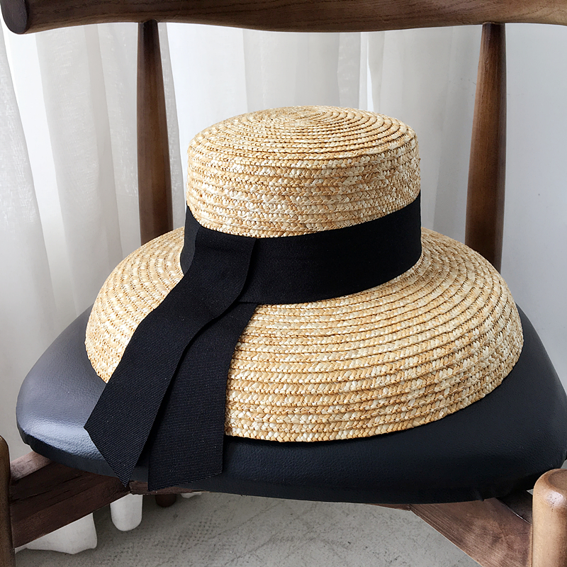 adb72741db2c7 Summer Female French ribbon Straw Straw Hat Hepburn hat sun visor beach sun  hat retro bell Basin hat female summer