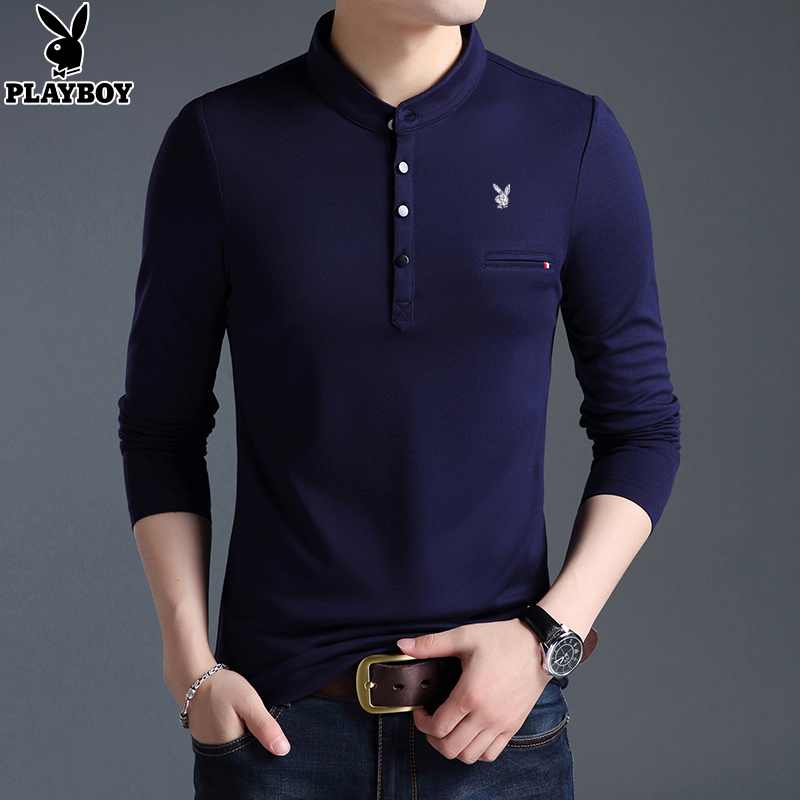 Playboy Long Sleeve T-shirt mens stand-up dress clothes Fall Winter Korean version pure color polo shirt men's sweatshirt trend