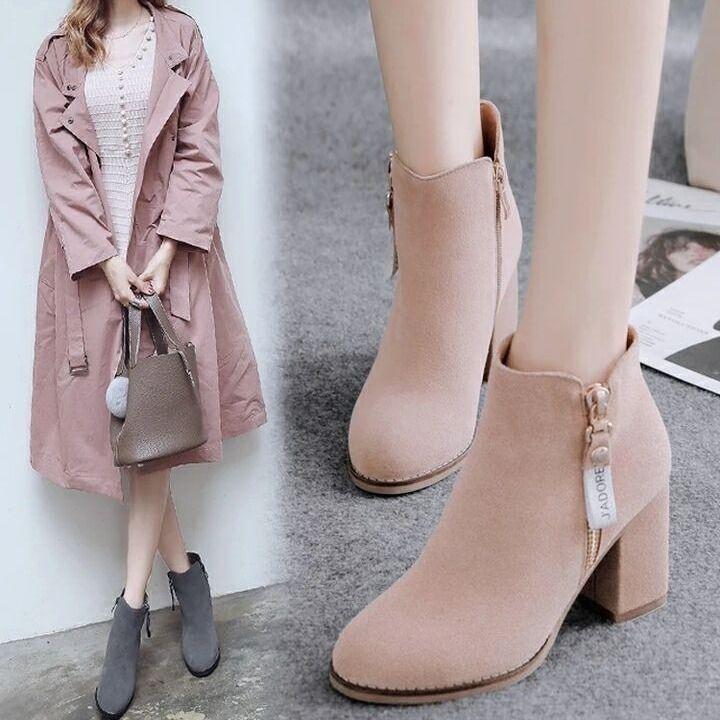 2019時裝靴女鞋冬女靴高跟鞋裸靴粗跟靴子短靴女春秋單靴