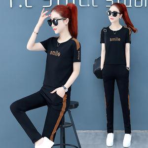 网红爆款韩版宽松大码短袖时尚休闲运动套装两件套女潮