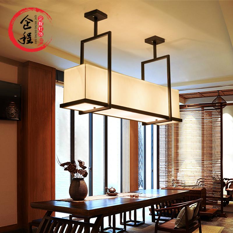 現代新中式吊燈酒店鐵藝復古餐廳燈中式燈具長方形工業蠟燭臺吊燈