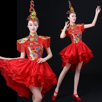 Jazz Dance Costumes Modern Dance Drum Drum Costume Performing Apparel Chinese Style Skirt National Dance Fan Dance Cheongsam Adult Women