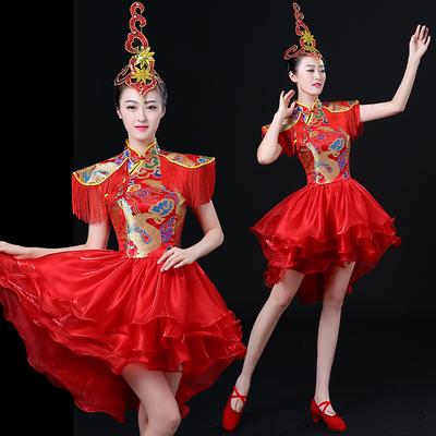 Jazz Dance Costumes Modern Dance Drum Drum Costume Performing Apparel Chinese Style Skirt National Dance Fan Dance Cheongsam Adult Women
