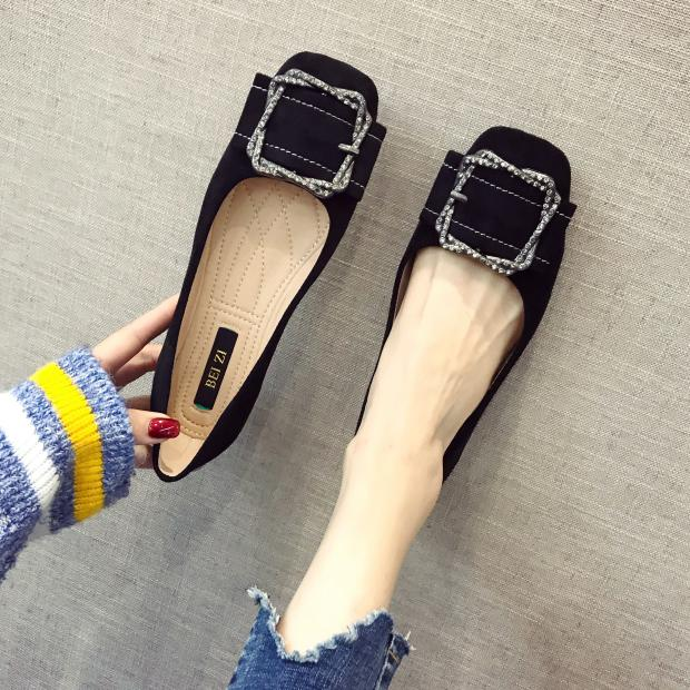 Flats Square Toe shoes Suede big size ladyshoes comfortable spring new 2019 drill square buckle black work shoes