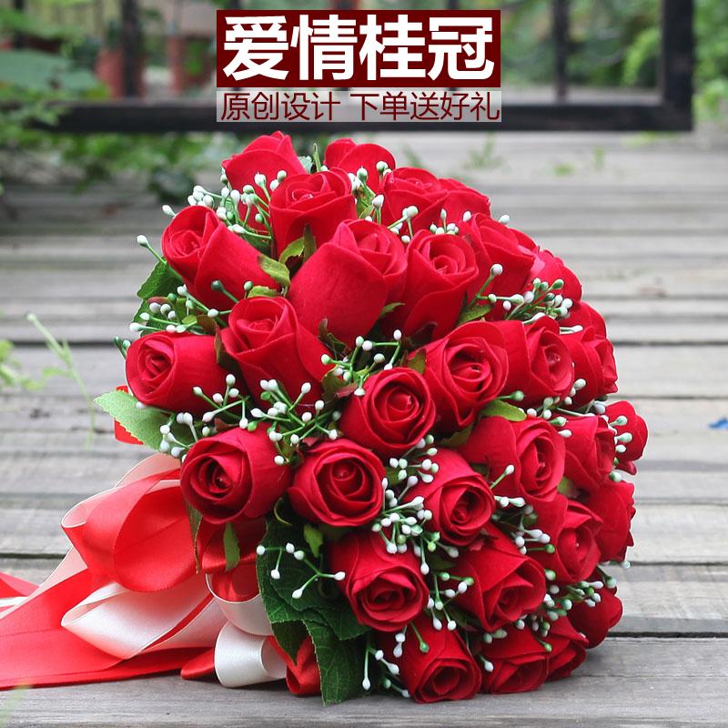 韩式新娘手捧花结婚缎带手捧花束高档永生花仿真红玫瑰花摄影婚礼