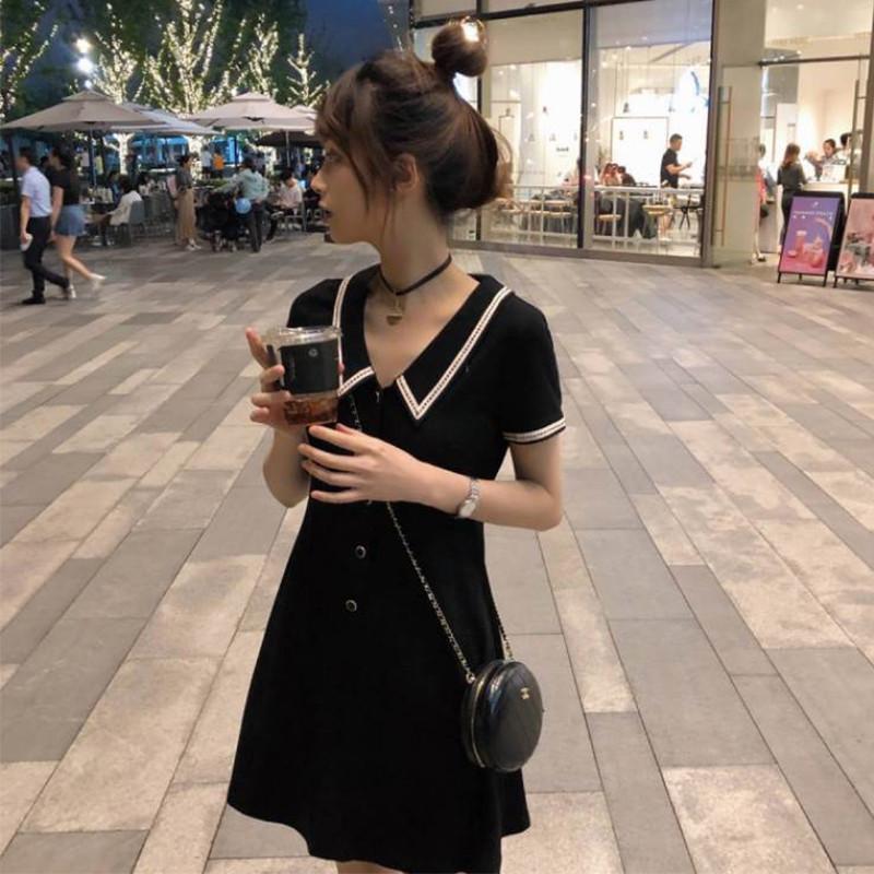淑昕媛黑色polo连衣裙