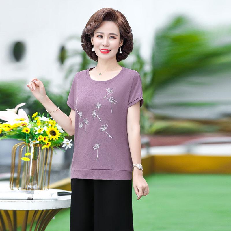 中年女士妈妈装夏季新品时尚两件套40-50岁中老年女装夏装套装