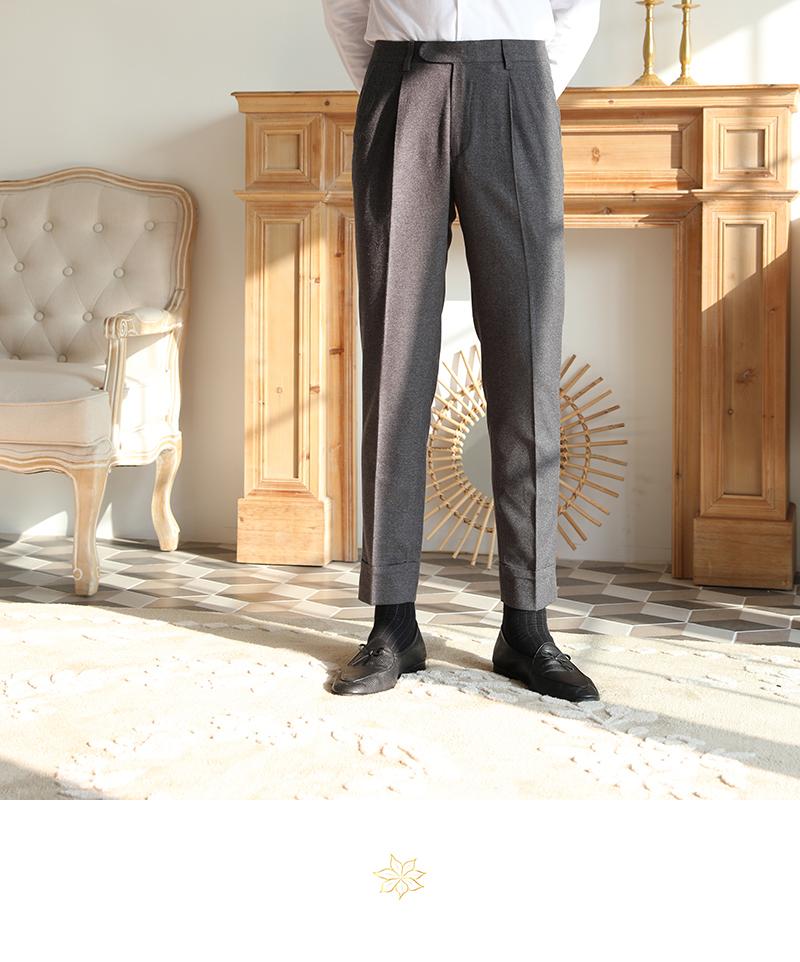 Mùa đông giản dị thẳng cao eo len tinh tế cổ điển thoải mái ấm áp không quần sắt nam quần retro hoang dã - Quần