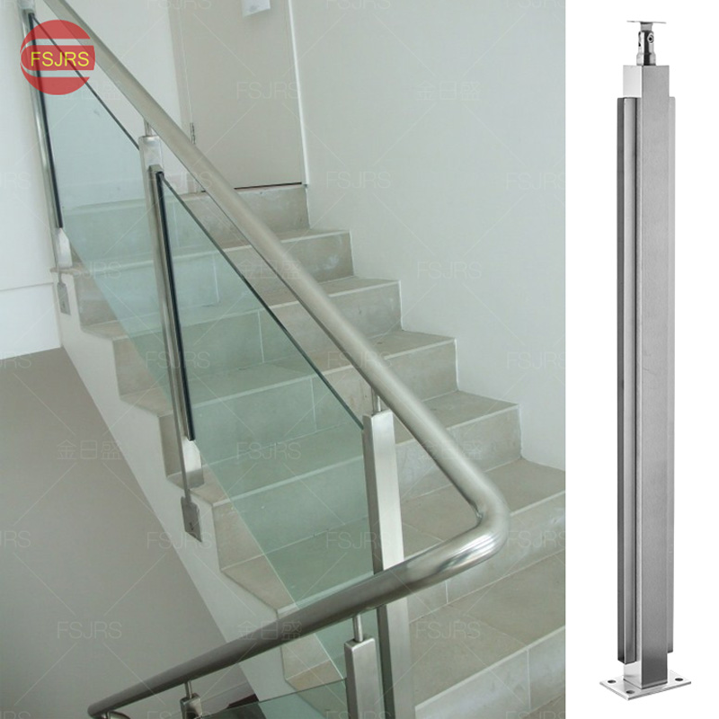 Manufacturers Custom 304 Stainless Steel Stair Handrail Column Stainless  Steel Balcony Railing Square Tube Glass Accessories