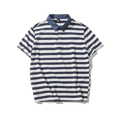 Đến năm 2018 mùa hè phong cách Harajuku ngắn tay ve áo sọc polo áo sơ mi lỏng T-Shirt những người yêu thích linh hồn biển áo sơ mi nam giới và phụ nữ ao polo Polo