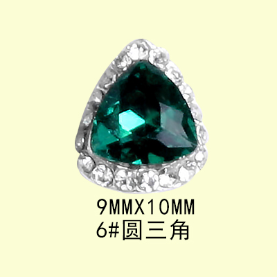 New nail jewelry grandmother green ultra-flash diamond decoration luxury paste size brick diamond alloy nail decoration drill