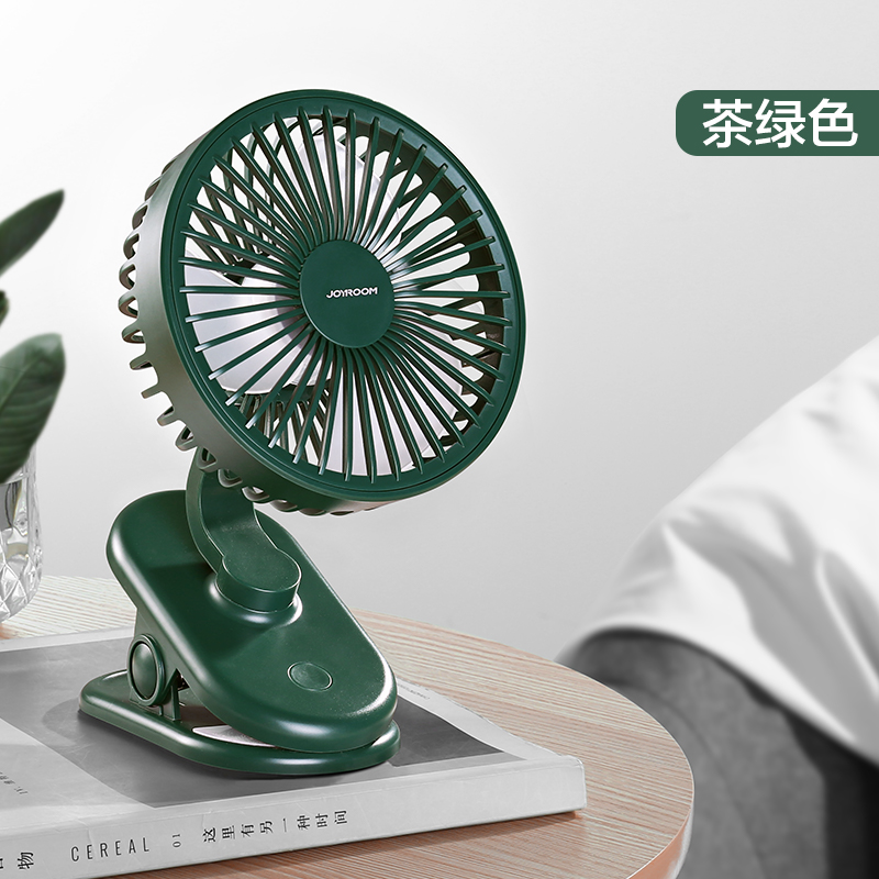 Tea Green [no Noise% 20 Desktop / Clip Fan] Wind Power Increased By 5 Times ★ 2000 Ma + Charging Cable
