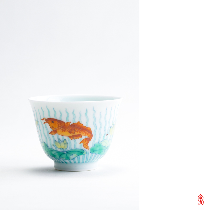 Qin Qiuyan bucket color grass fish grain single ceramic cups high - end sample tea cup cup hand - made kung fu master CPU